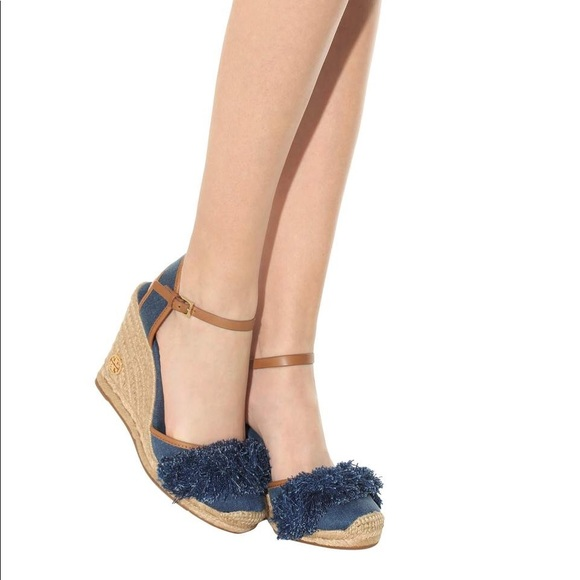 33f9e10ae Tory Burch Shoes | Denim Shaw Fringe Espadrille Wedges | Poshmark